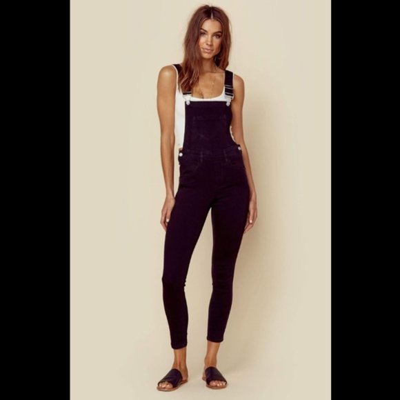 BlankNYC Black Denim Skinny Overalls